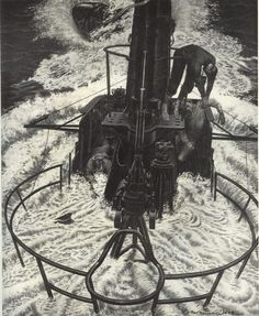 """Fateful moment when CDR Howard Gilmore USN (USNA 1926) captain of USS Growler (SS-215) gave the order """"TAKE HER DOWN."""" Drawing by LCDR Fred Freemen, via Theodore Roscoe, from his book """"U.S. Submarine Operations of WW II,"""" published by USNI.  Ensign William Williams, USN (USNA 1943) and lookout Fireman Third Class Wilbert Kelly were killed instantly by machine gun fire. Williams is depicted on the left and Kelly drapped on the lookout railing. Gilmore is hanging from the bridge rail on the…"""