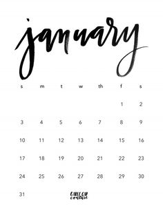 January Brush Calligraphy Calendar 2016 free digital download. We have a little New Years pressie for you! Download your free January 2016 Brush Calligraphy Calendar printable below. Print out your copy and show us how you style it! Tag us @cablecarcalligraphy on Instagram.