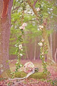 What a lovely idea for your wedding ceremony. This gorgeous swing would make for beautiful wedding photos too. inspirational wedding and bridal ideas. It reminds me out secret garden. Enchanted Forest Wedding, Enchanted Garden, Woodland Wedding, Enchanted Forest Decorations, Mod Wedding, Garden Wedding, Dream Wedding, Wedding Ideas, Wedding Swing