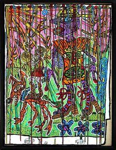 Robert COMBAS (né en 1957) - Rappeur et guerrier au soleil - 1988. Acrylique sur toile. Signé au milieu à droite sur le côté. 134 x 100 cm. Certificat de l'artiste Estimation 38 000 € - 42 000 € chez CANNES ENCHERES le Dimanche 5 juillet à 13h30 à cannes