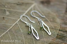 Sterling silver and green tourmaline earrings by WoodlandAndMoon