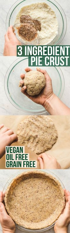 3 Ingredient Pie Crust that is healthy, vegan, grain free, and oil free! Perfect for quiches, pies, and more. Great recipe to have on hand for your fall apple pie or holiday dessert! Pin it for later! Gluten Free Baking, Gluten Free Desserts, Gluten Free Recipes, Vegetarian Recipes, Whole Food Recipes, Cooking Recipes, Vegan Pie, Vegan Food, Vegan Treats