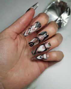 Abstract line free hand nail art on long coffin nails, in black, white, grey and rosegold gel paint finished off with rosegold rhinestones Coffin Nails Long, Press On Nails, Paint Finishes, Nail Ideas, Rhinestones, Black White, Nail Art, Rose Gold, It Is Finished