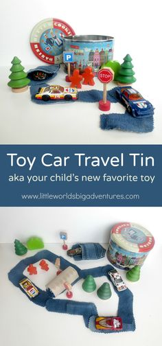 Toy Car Travel Tin, an easy diy project car loving toddlers and preschoolers will love! | Little Worlds, Big Adventures