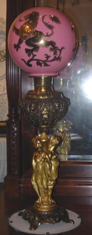 Rare and unusual 3 Graces Victorian Banquet Oil Lamp.