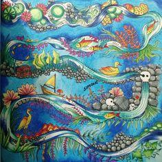 Lago do Livro de colorir Joahnna Basford , Jardim Secreto e Floresta Encantada... Lápis de cor