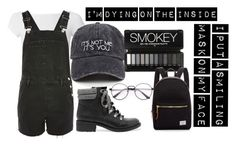 """""""I'm Dying on the Inside"""" by moonstar843 on Polyvore featuring Helmut Lang, Topshop, Sam Edelman and Herschel Supply Co."""