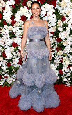 Lucy Liu in a purple Yanina Couture dress