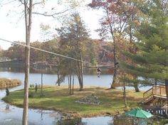 Not many people get to #zilpine over a lake! Cool! #Bigfoot Zipline Tours #Dells