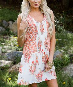 Look at this #zulilyfind! Orange & Pink Floral Drop-Waist Dress #zulilyfinds