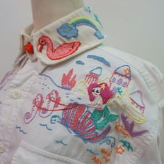 Twist.me.Around Handmade Embroidery Mermaid Shirt #mermaid #thaidesignerbrand