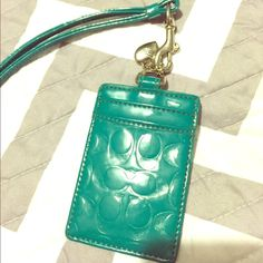 Coch ID Lanyard NWOT teal ID lanyard. Authentic coach. Coach Accessories Key & Card Holders