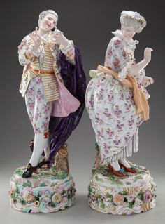 A LARGE PAIR OF MEISSEN PORCELAIN FIGURES ON STANDS, Meissen,Germany, 19th century.