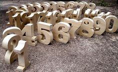 Wedding reception wooden table numbers