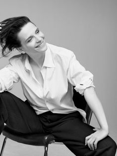 Juliette Binoche. Perfect pieces. Love a crisp white shirt any day of the week.