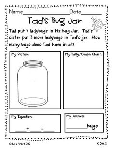 Freebie!  Teaches students to show their answers in multiple ways!{picture, tally, equation, answer statement}
