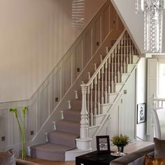 Painted Staircase and hallway - Yahoo Image Search Results Entryway Stairs, Rustic Stairs, Open Stairs, Glass Stairs, Loft Stairs, Floating Stairs, House Stairs, Foyer, Diy Stair Railing