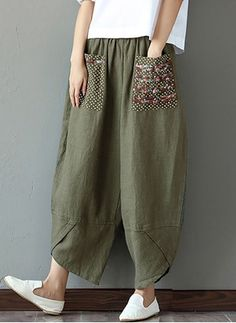 eab2c646cc2 Womens Ethnic Loose Wide Leg Embroidered Plus Size Casual Trouser Pants