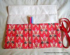 Colouring Pencil Roll Flamingo Fabric Pen Roll Pencil