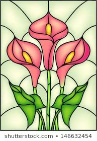 Red Calla lily vector illustration in stained glass window (Gathering ideas) Stained Glass Quilt, Stained Glass Flowers, Stained Glass Panels, Leaded Glass, Mosaic Glass, Faux Stained Glass, Glass Painting Designs, Stained Glass Designs, Stained Glass Projects