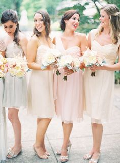 I really like the slightly different bridesmaids dress colors, with gold or sliver shoes