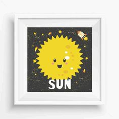 "Cute Sun,Sun Prints,Planet  Art Print,Nursery Decor,Kids decor print,Digital Prints,Wall Printable,instant download,8""x 8""Inches"