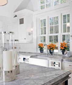 peaceful super white quartzite recomended for your interior design: Super White Quartzite Viewing Gallery With Floral Arrangement