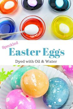 Oil and Water Dyed Easter Eggs : Dye speckled Easter eggs with just oil and water. Easy step-by-step instructions to dye Easter eggs with items you already have in your pantry. Oil and water dyed Easter eggs come out speckled and vibrant! Easter Egg Dye, Coloring Easter Eggs, Food Coloring Egg Dye, Making Easter Eggs, Hoppy Easter, Easter Bunny, Easter Dinner, Easter Party, Easter Table