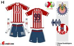 Chivas Guadalajara of Mexico home kit for 2015-16.