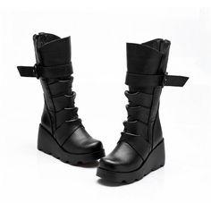 futuristic black midcalf platform wedge boots - Google Search