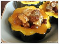 Acorn Squash with Apple & Sausage Stuffing with Apple Glaze - A new way to enjoy acorn squash! I've never heard of the spice used in the glaze before, but this looks like a great fall dish to try and it says you can just sub maple syrup for the glaze if you want.