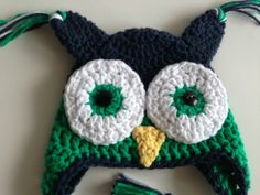 Little Boy Crochet Owl Hat Green Halloween Photo by PinkLemonKnits