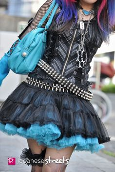 Punk Rock outfit. I like this, especially the blue.