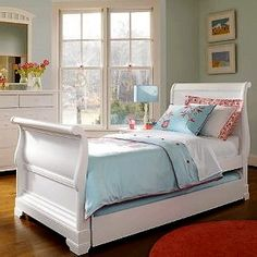 white twin trundle sleigh bed   girls bedroom   pinterest   beds