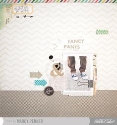 """""""Fancy Pants"""" scrapbook page by Marcy Penner at Studio Calico."""