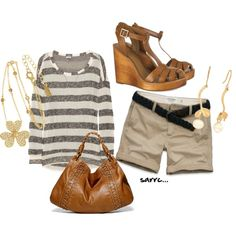 A fashion look from December 2011 featuring long-sleeve shirt, tory burch sandals and pendant necklace. Browse and shop related looks.