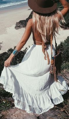 White Maxi Embroidered Skirt