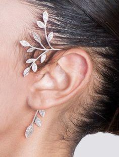 afb10d96c Wedding jewelry - bridal jewelry , silver ear cuff , leaves ear cuff ,  statement ear cuff , woodland ear cuff , wedding ear cuff , woodland