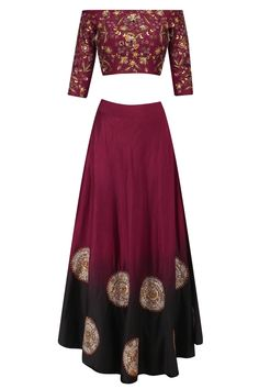 Maroon embroidered motifs off shoulder top and skirt set available only at Pernia's Pop Up Shop.