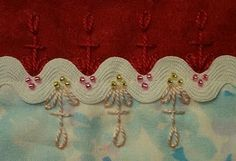 crazy quilting on ric rac and lots of other stitches Crazy Quilting, Crazy Quilt Stitches, Crazy Quilt Blocks, Crazy Patchwork, Silk Ribbon Embroidery, Cross Stitch Embroidery, Embroidery Patterns, Hand Embroidery, Quilt Patterns