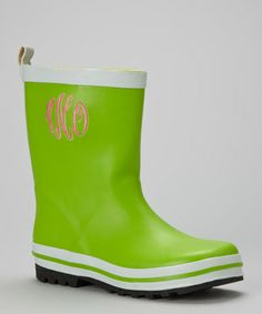 Green & Pink Traditional Monogrammed rain boots