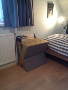 #Bed, #Bedroom, #BedsideTable, #RepurposedPallet I wanted a new bedside Table because I didn't have one! So I decided to pick the cheap way, I had some pallets which were good to use for this little project! It's about 60 cm long, 40 cm width and the height is 70 cm.
