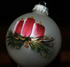 hand painted candle glass ornament by debshaverdesign on Etsy Painted Christmas Ornaments, Hand Painted Ornaments, Noel Christmas, Christmas Baubles, Homemade Christmas, Holiday Ornaments, Christmas Decorations, Ornaments Ideas, Glitter Ornaments