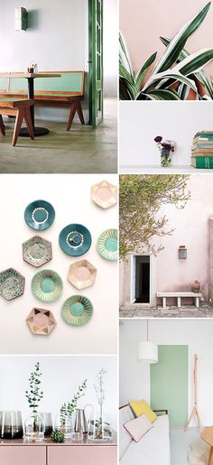SAVING JUST FOR THE PLATE DECO AND COLOR COMBO. pops of pale pink and green decor / sfgirlbybay