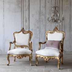 Stunning Pair Of Aged Gilt Armchairs With Deep Br Nail Heads Detail Around The Back And Seat Find This Pin More On French Home Accessories