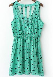 Green Round Neck Sleeveless back hollow Bird Print Dress