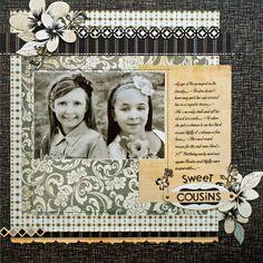 *Sweet Cousins* NEW BasicGrey LITTLE BLACK DRESS + HERO ARTS - Scrapbook.com - What a sweet page. #scrapbooking #layouts #fiskars #signo