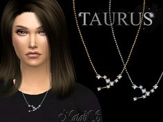 NataliS_Taurus zodiac necklace - The Sims 4 Catalog Sims 4 Mods, Aquarius Zodiac, Taurus, Sims 4 Piercings, Sims 4 Cc Packs, Sims 4 Dresses, Sims 4 Cc Finds, The Sims4, Pandora Bracelets