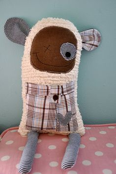 little monster softie sewn from old clothes - how cute is this?!