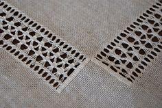 Unique all-white Scandinavian vintage doily, drawn thread work on linen, hand…